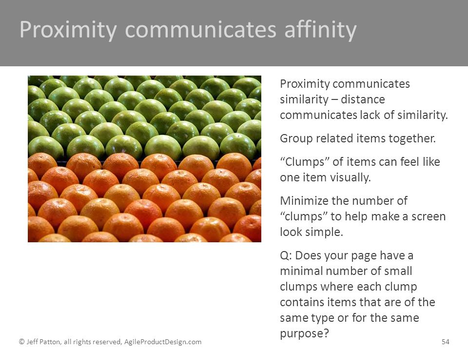 Proximity communicates affinity