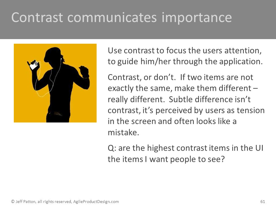 Contrast communicates importance