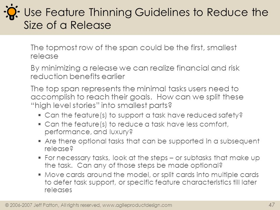 Use Feature Thinning Guidelines to Reduce the Size of a Release