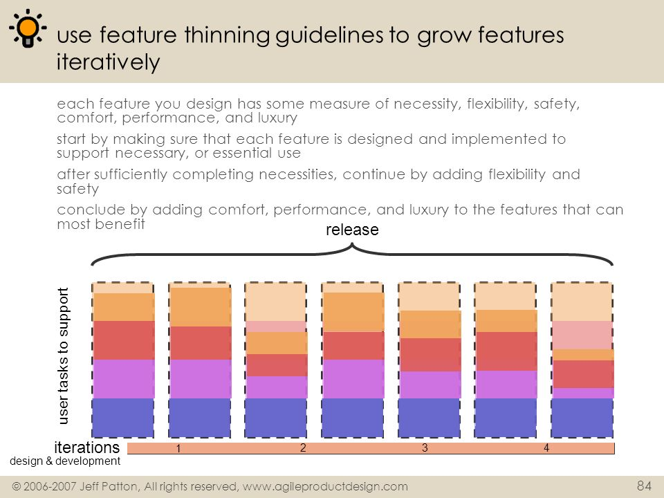use feature thinning guidelines to grow features iteratively