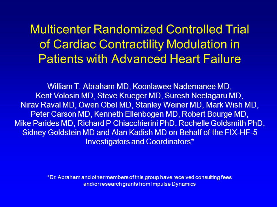 Multicenter Randomized Controlled Trial of Cardiac Contractility Modulation in Patients with Advanced Heart Failure