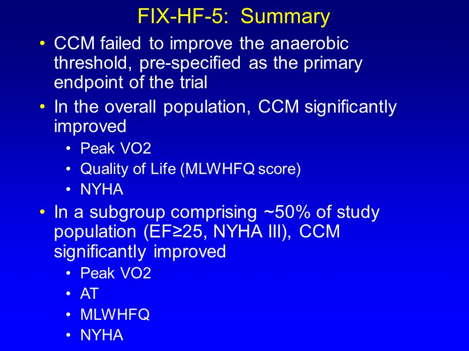 FIX-HF-5: Summary CCM failed to improve the anaerobic threshold, pre-specified as the primary endpoint of the trial.