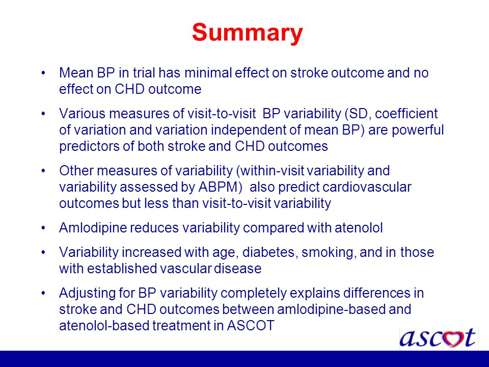Summary Mean BP in trial has minimal effect on stroke outcome and no effect on CHD outcome.