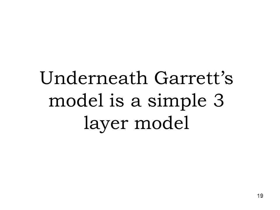 Underneath Garrett's model is a simple 3 layer model