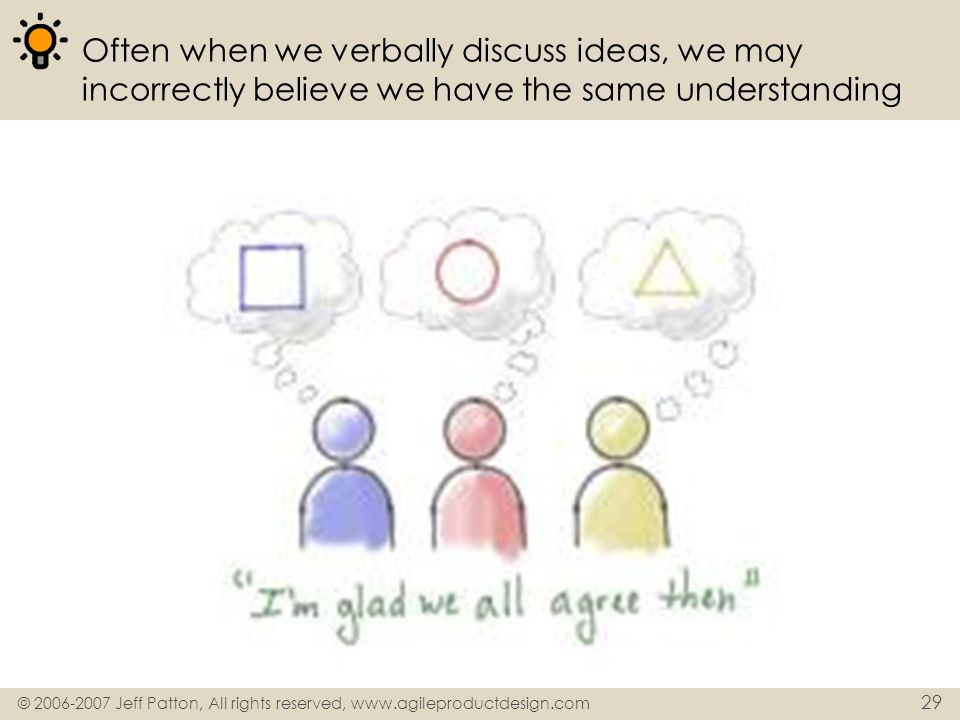 Often when we verbally discuss ideas, we may incorrectly believe we have the same understanding