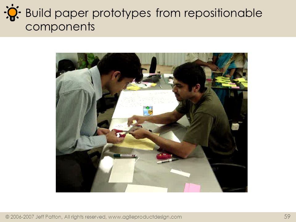 Build paper prototypes from repositionable components