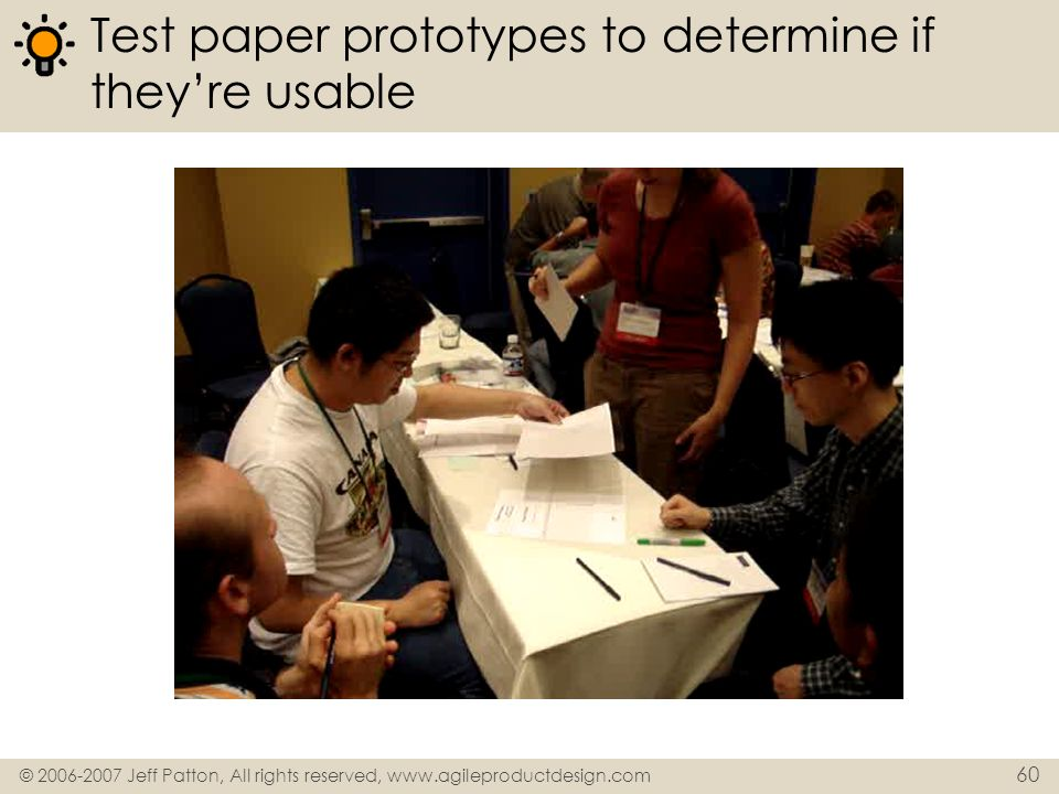 Test paper prototypes to determine if they're usable