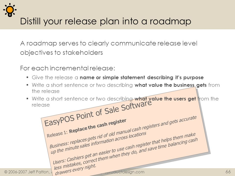 Distill your release plan into a roadmap