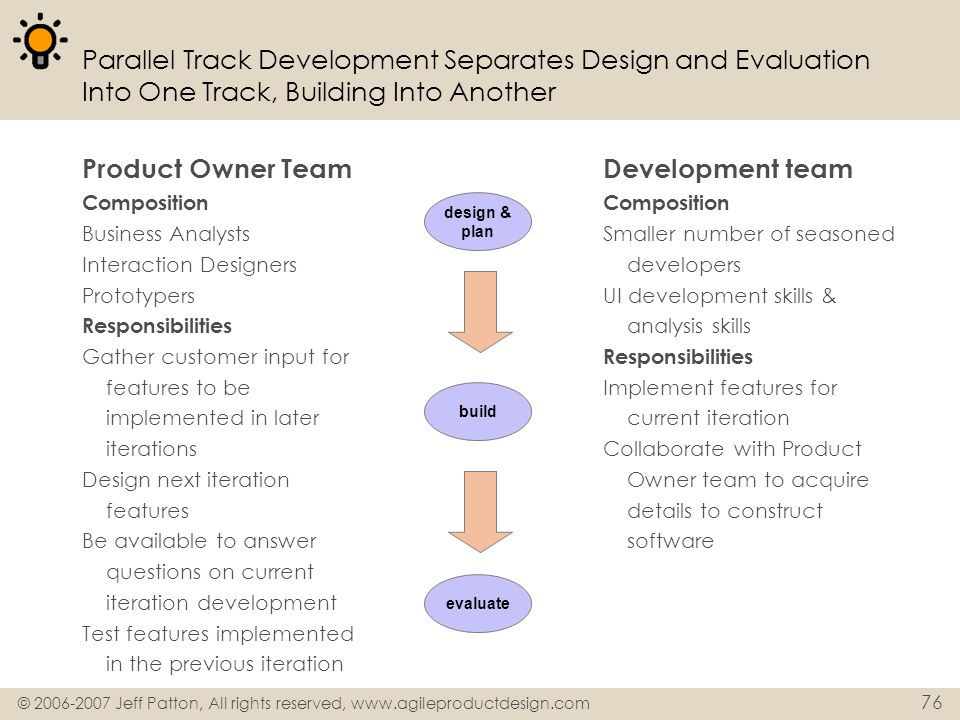 Parallel Track Development Separates Design and Evaluation Into One Track, Building Into Another
