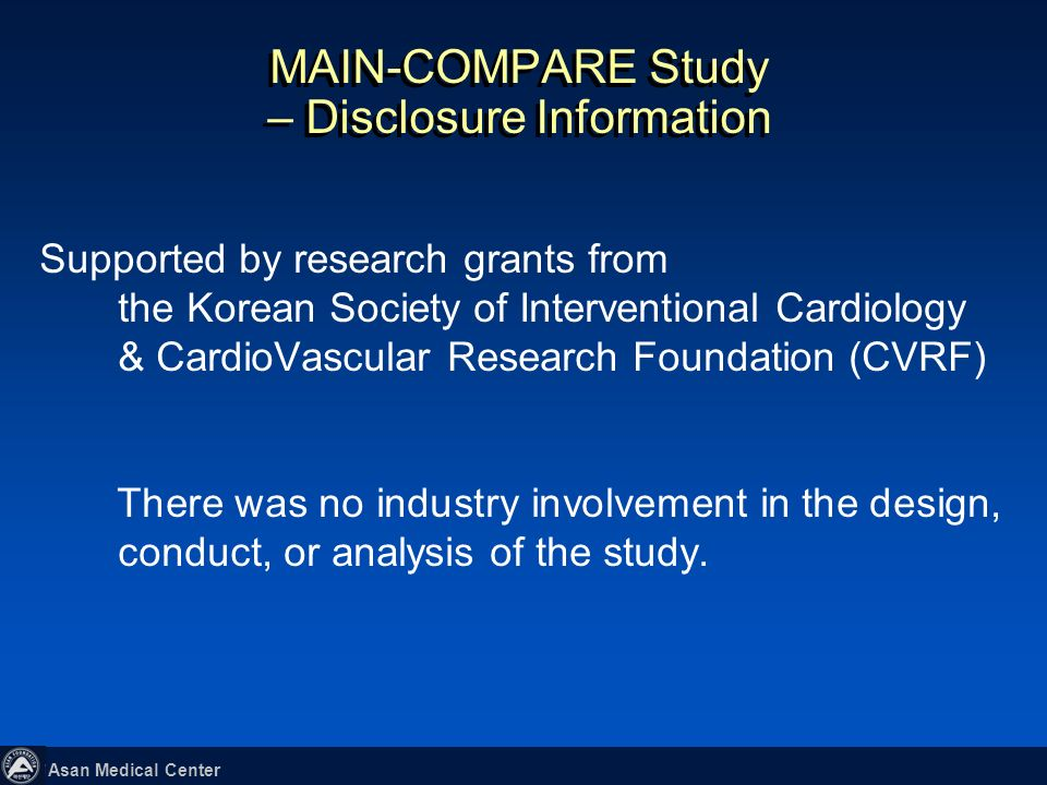 MAIN-COMPARE Study – Disclosure Information