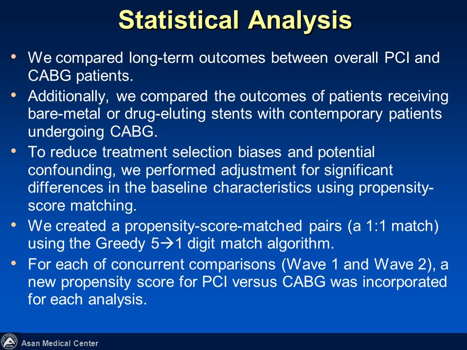 Statistical Analysis We compared long-term outcomes between overall PCI and CABG patients.