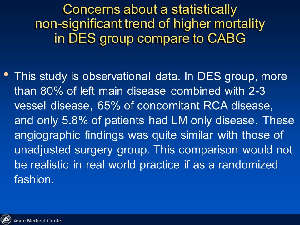 Concerns about a statistically non-significant trend of higher mortality in DES group compare to CABG