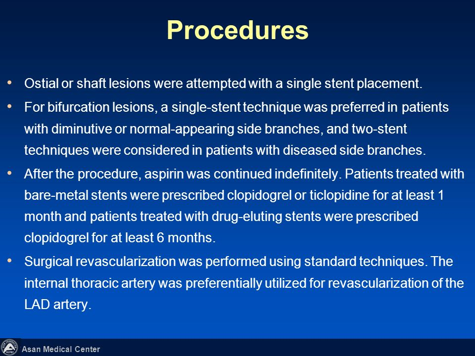 Procedures Ostial or shaft lesions were attempted with a single stent placement.