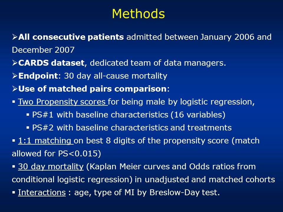 Methods All consecutive patients admitted between January 2006 and December 2007. CARDS dataset, dedicated team of data managers.