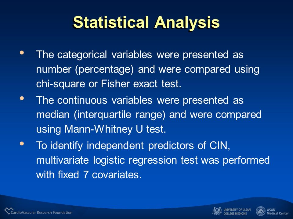 Statistical Analysis The categorical variables were presented as number (percentage) and were compared using chi-square or Fisher exact test.