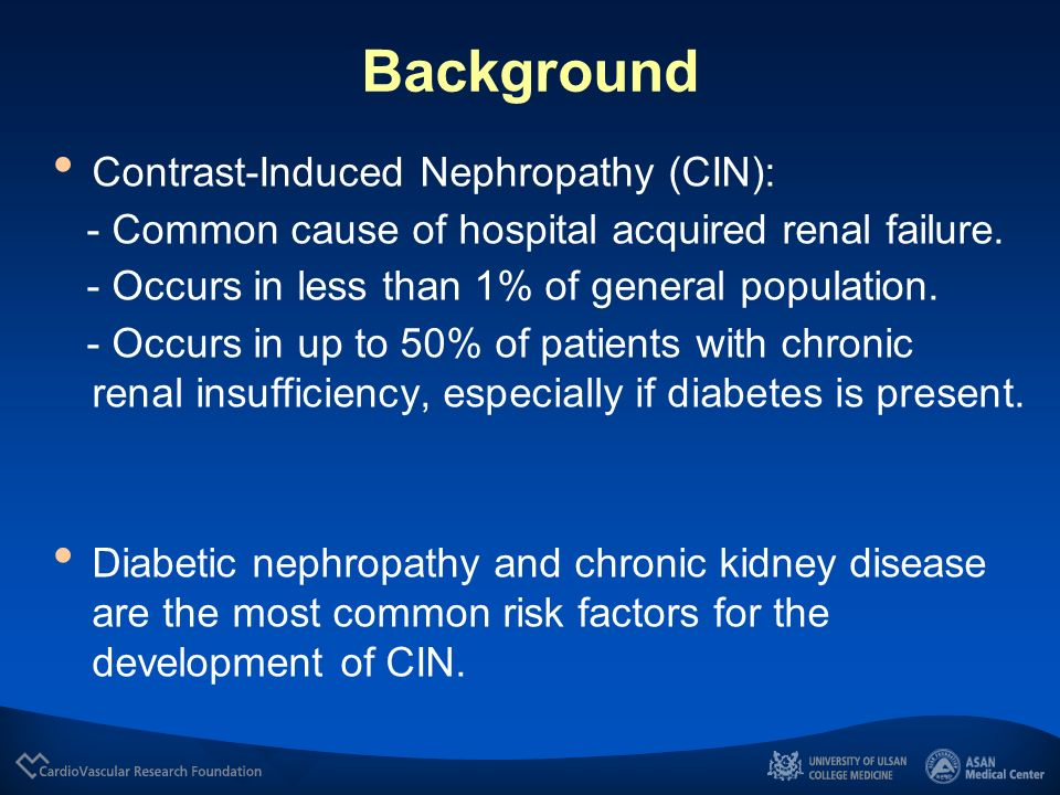 Background Contrast-Induced Nephropathy (CIN):