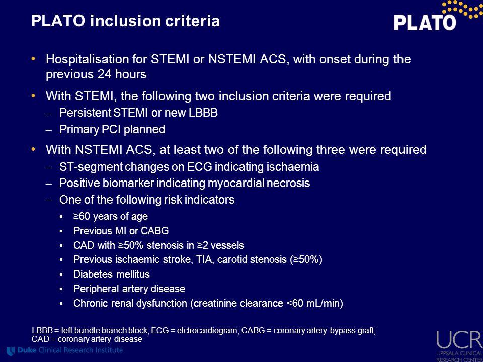 PLATO inclusion criteria
