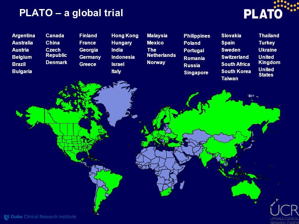 PLATO – a global trial Argentina Australia Austria Belgium Brazil