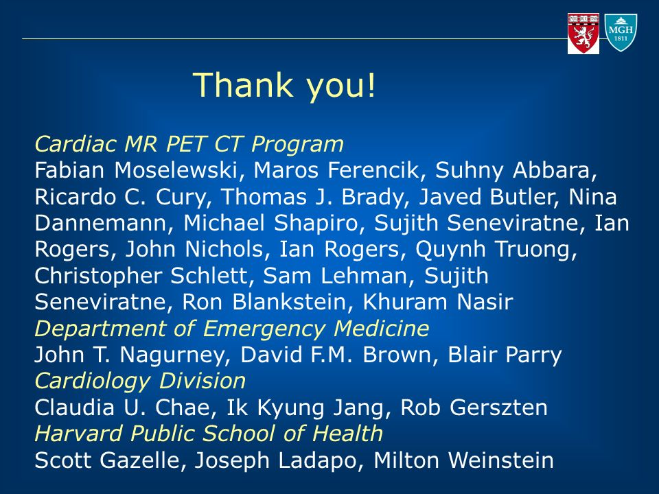 Thank you! Cardiac MR PET CT Program