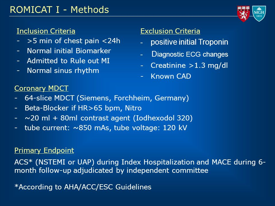 ROMICAT I - Methods positive initial Troponin Diagnostic ECG changes