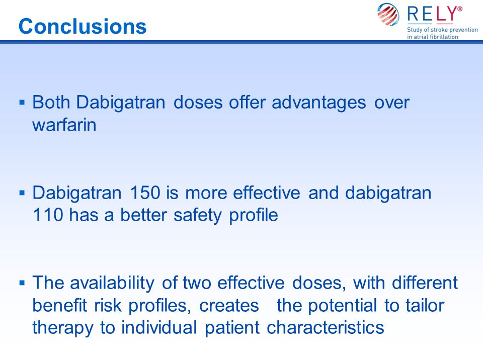 Conclusions Both Dabigatran doses offer advantages over warfarin