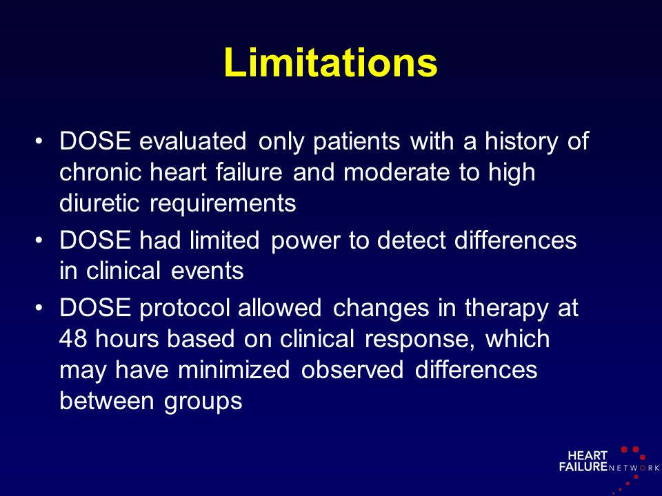 Limitations DOSE evaluated only patients with a history of chronic heart failure and moderate to high diuretic requirements.