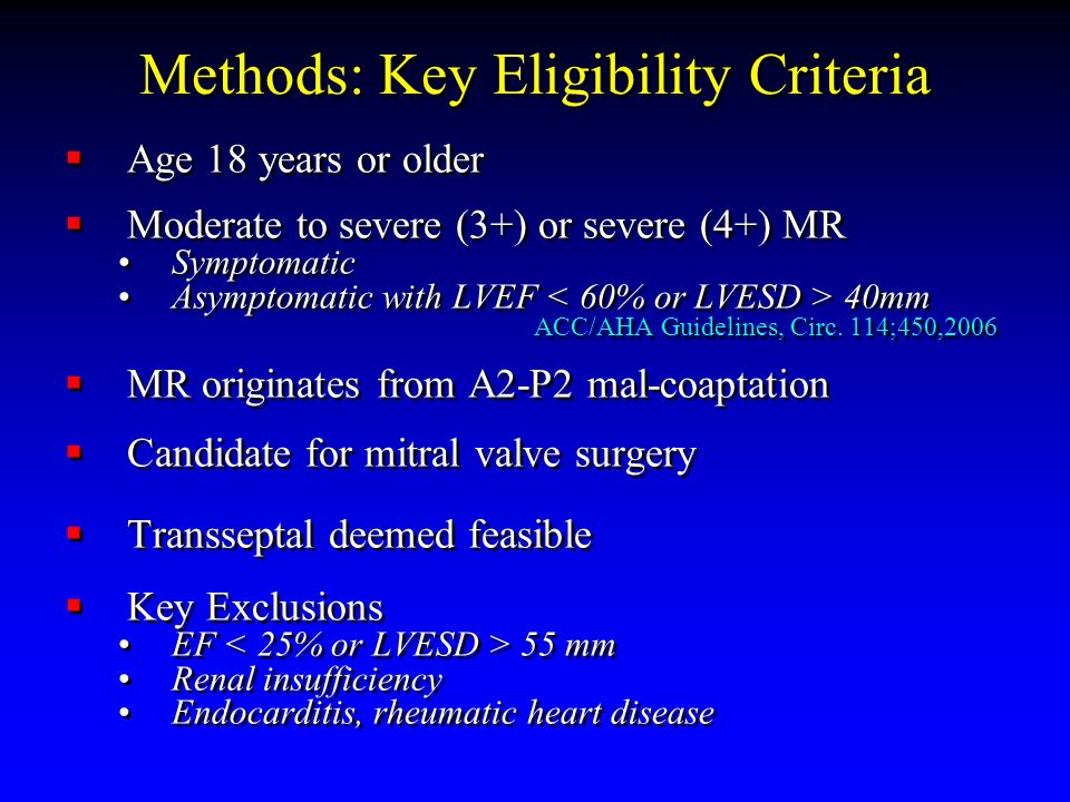 Methods: Key Eligibility Criteria