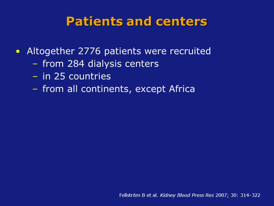 Patients and centers Altogether 2776 patients were recruited