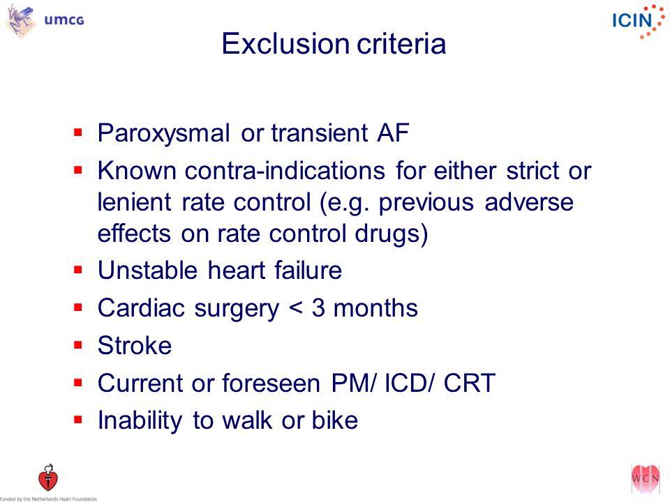 Exclusion criteria Paroxysmal or transient AF