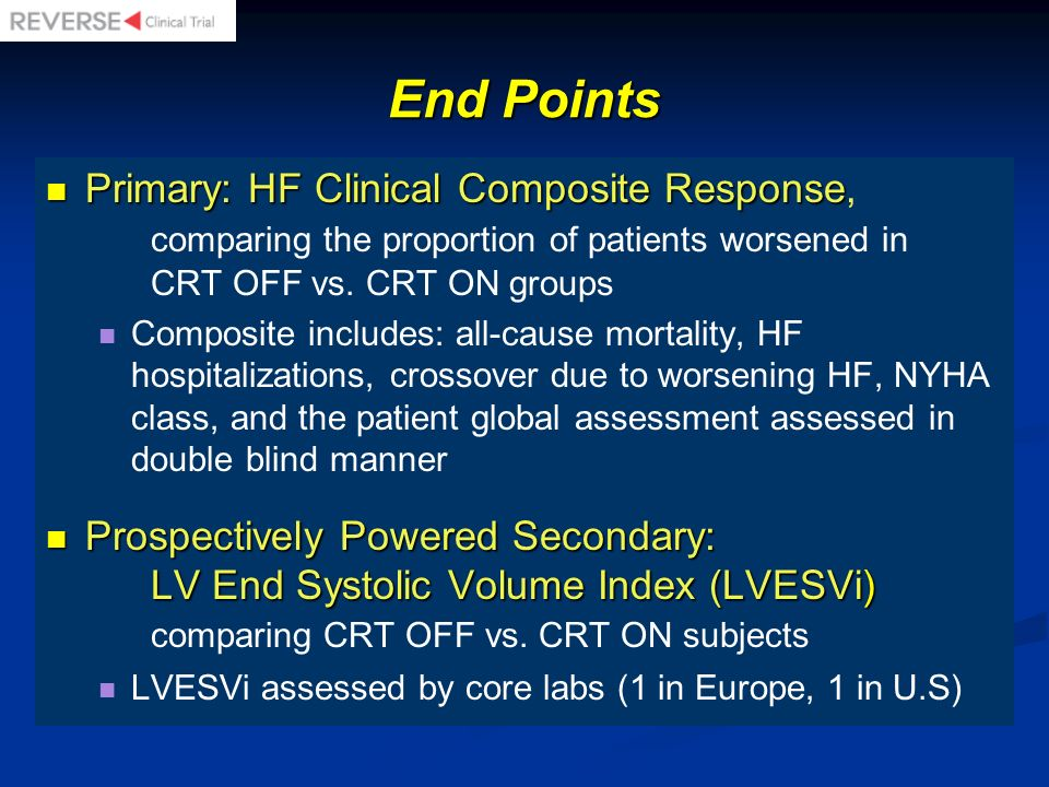 End Points Primary: HF Clinical Composite Response, comparing the proportion of patients worsened in CRT OFF vs. CRT ON groups.