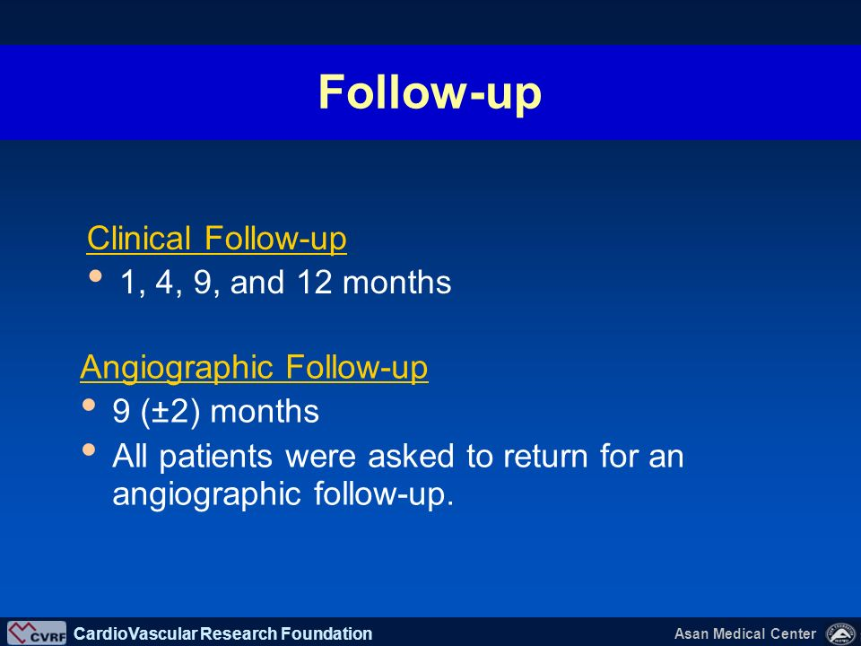 Follow-up Clinical Follow-up 1, 4, 9, and 12 months