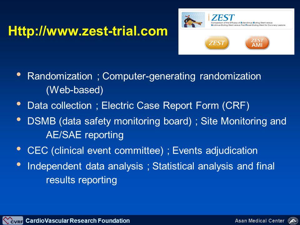 Http://www.zest-trial.com Randomization ; Computer-generating randomization (Web-based) Data collection ; Electric Case Report Form (CRF)
