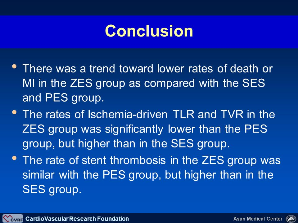 Conclusion There was a trend toward lower rates of death or MI in the ZES group as compared with the SES and PES group.