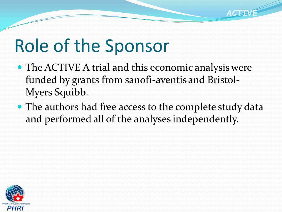 Role of the Sponsor The ACTIVE A trial and this economic analysis were funded by grants from sanofi-aventis and Bristol-Myers Squibb.