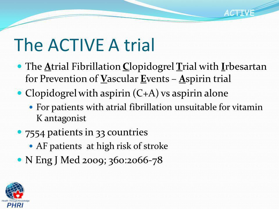 The ACTIVE A trial The Atrial Fibrillation Clopidogrel Trial with Irbesartan for Prevention of Vascular Events – Aspirin trial.