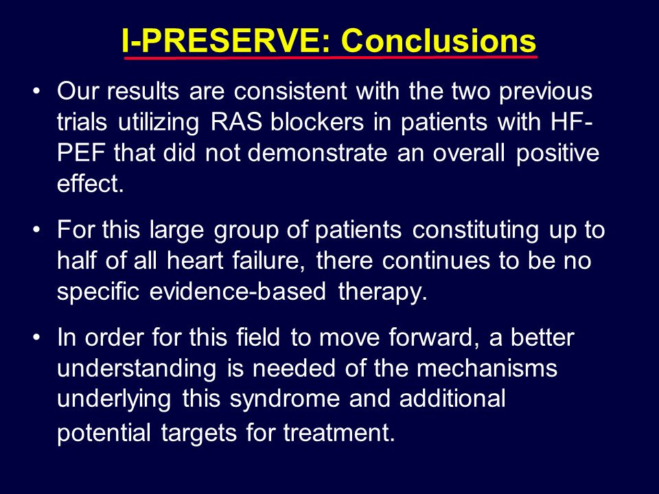 I-PRESERVE: Conclusions