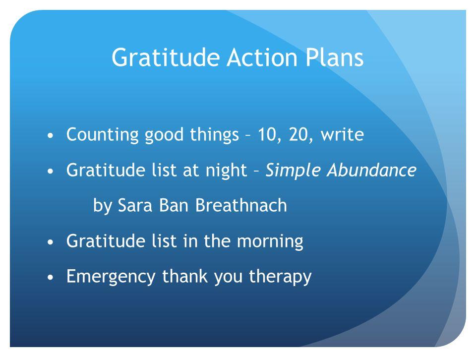 Gratitude Action Plans
