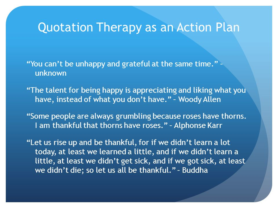 Quotation Therapy as an Action Plan