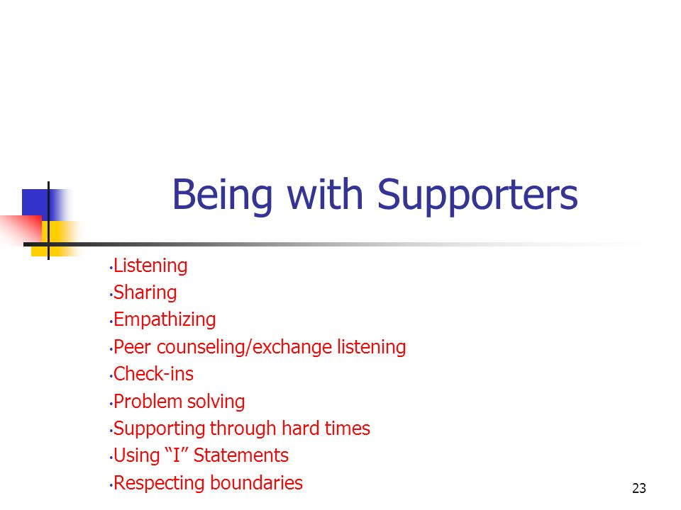 Being with Supporters Listening Sharing Empathizing