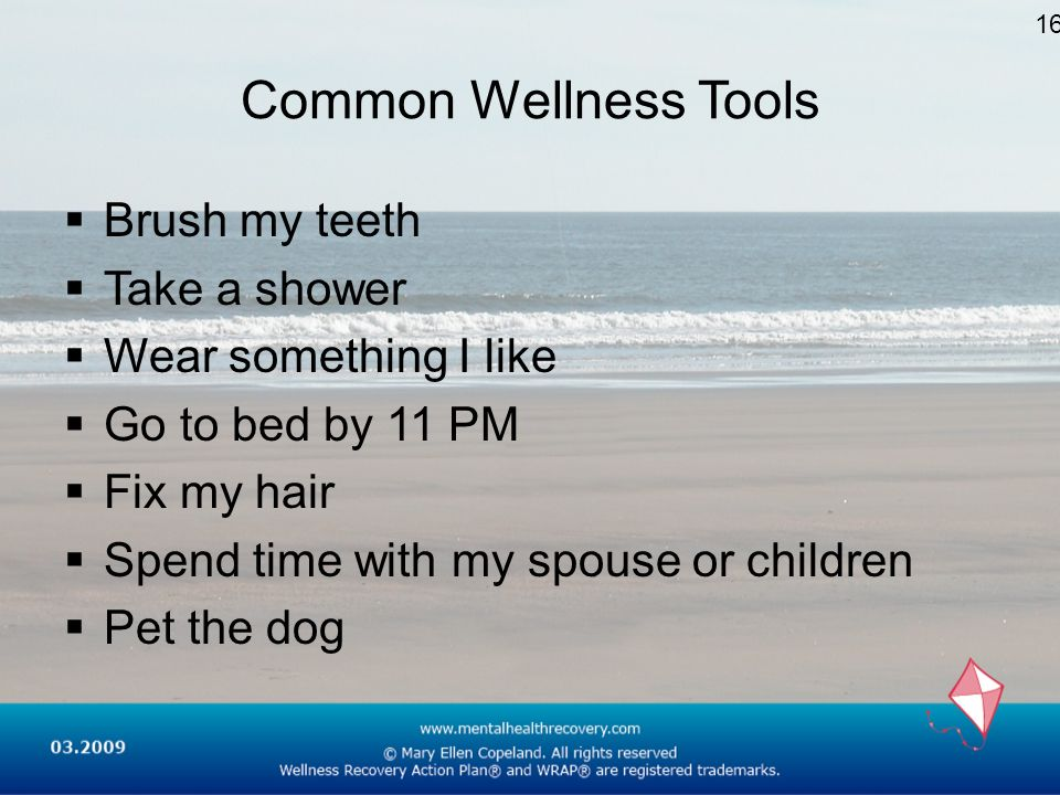 Common Wellness Tools Brush my teeth Take a shower