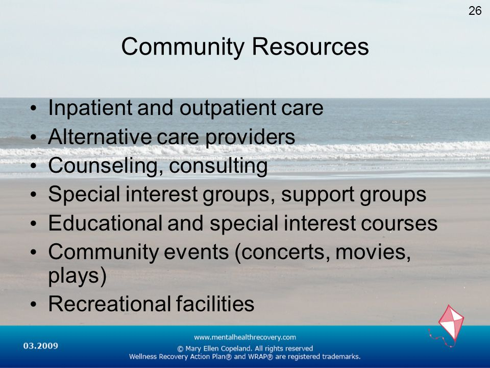 Community Resources Inpatient and outpatient care