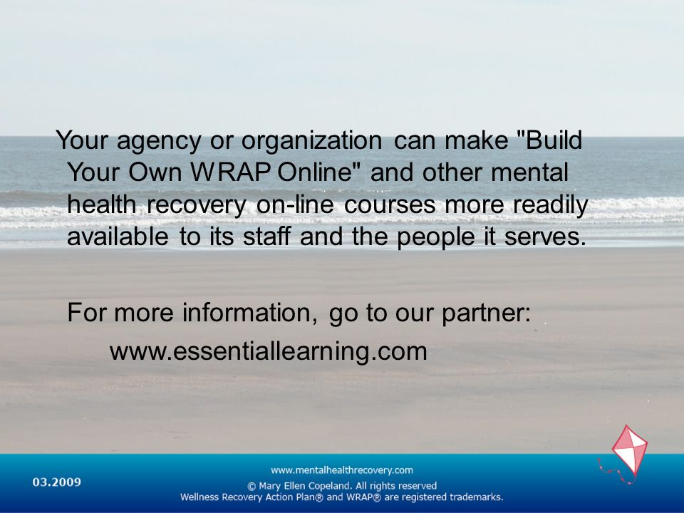 Your agency or organization can make Build Your Own WRAP Online and other mental health recovery on-line courses more readily available to its staff and the people it serves.