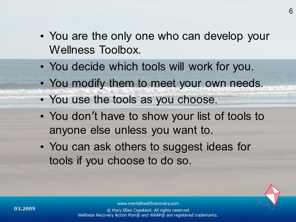 You are the only one who can develop your Wellness Toolbox.