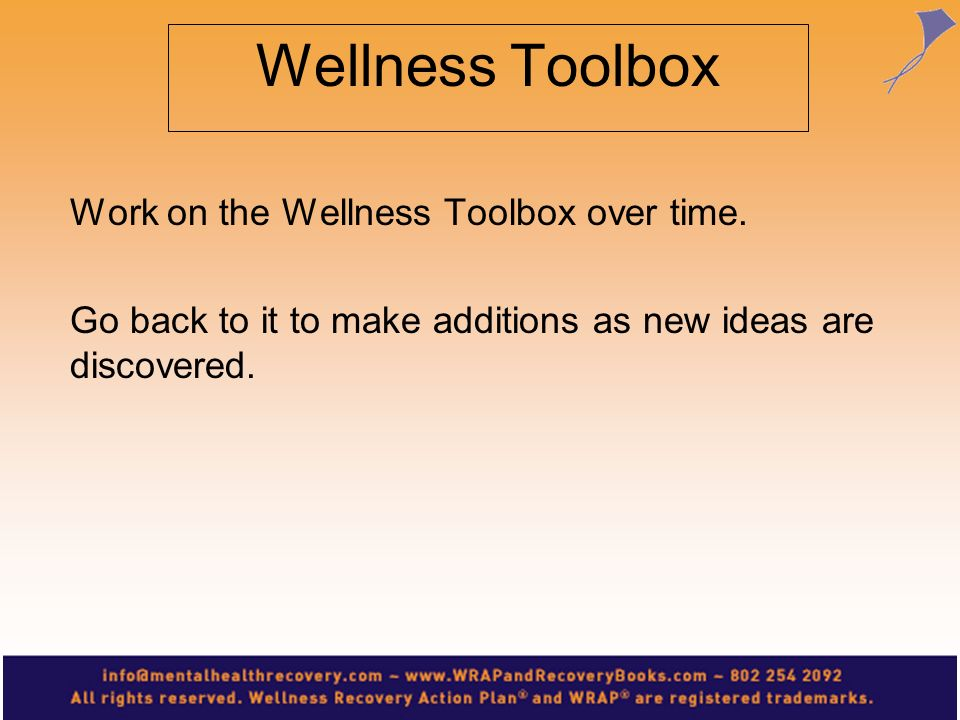 Wellness Toolbox Work on the Wellness Toolbox over time.