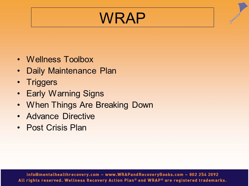 WRAP Wellness Toolbox Daily Maintenance Plan Triggers