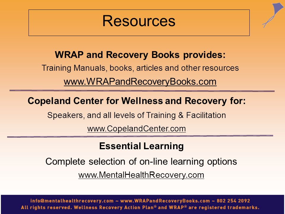 Resources WRAP and Recovery Books provides: