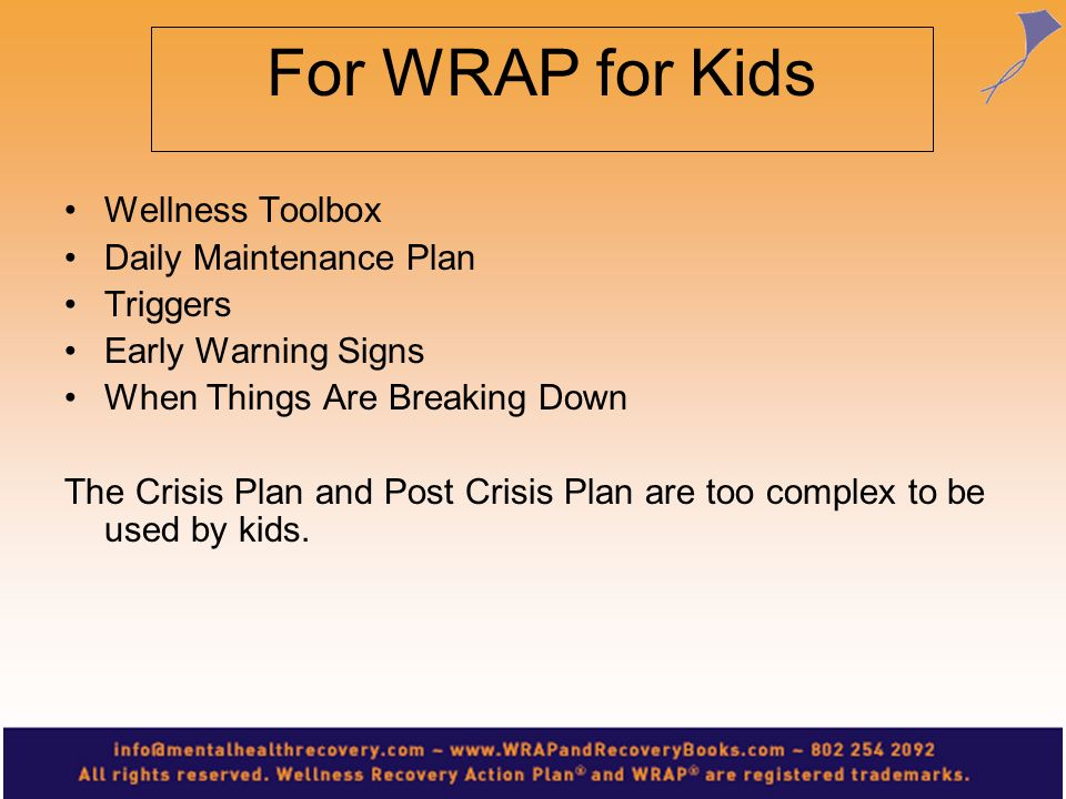 For WRAP for Kids Wellness Toolbox Daily Maintenance Plan Triggers
