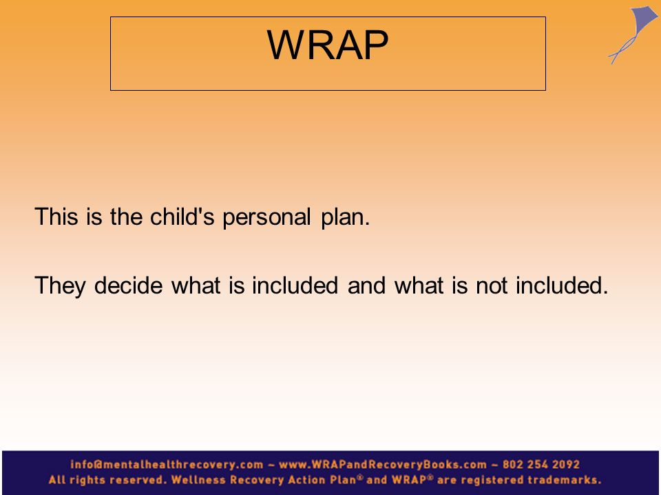 WRAP This is the child s personal plan.