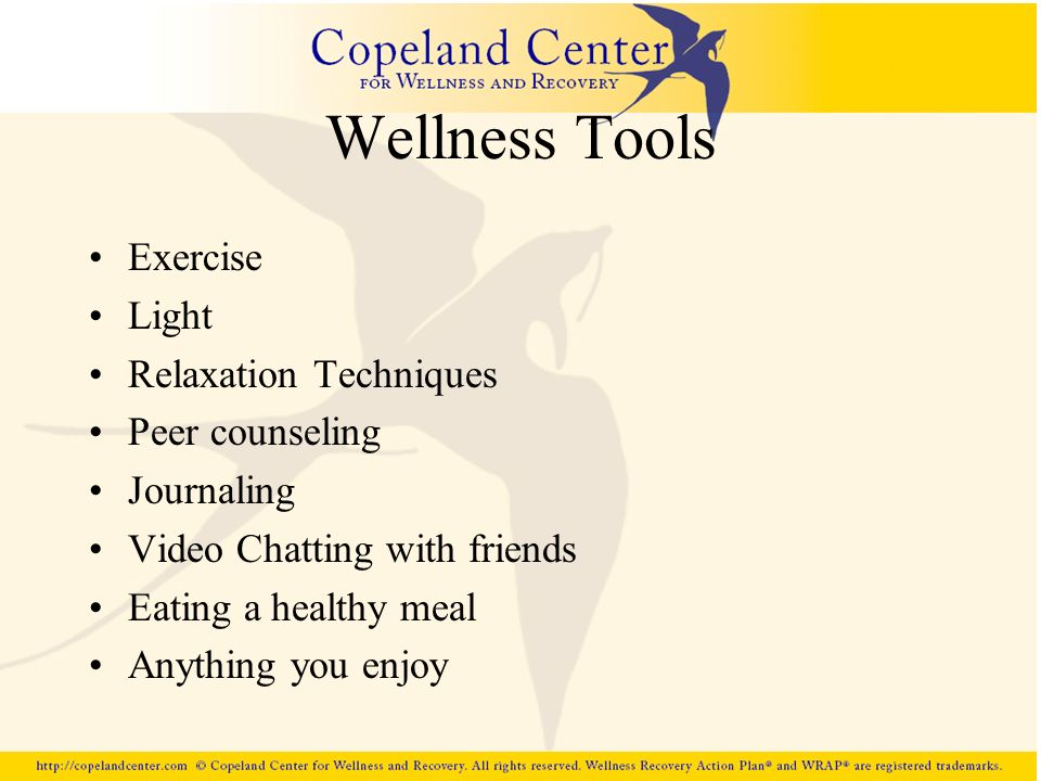 Wellness Tools Exercise Light Relaxation Techniques Peer counseling