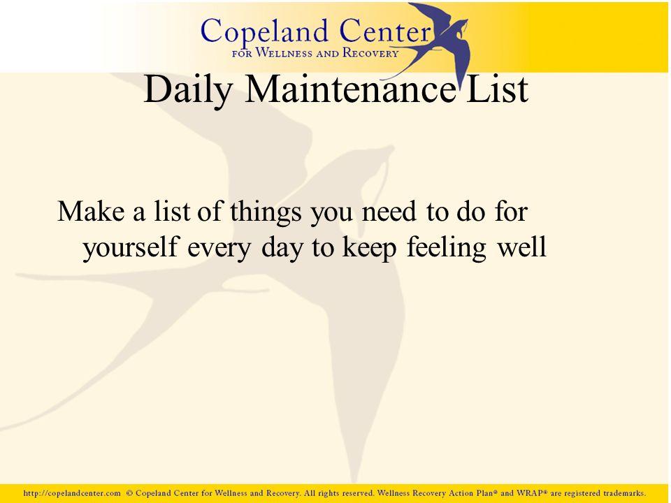Daily Maintenance List